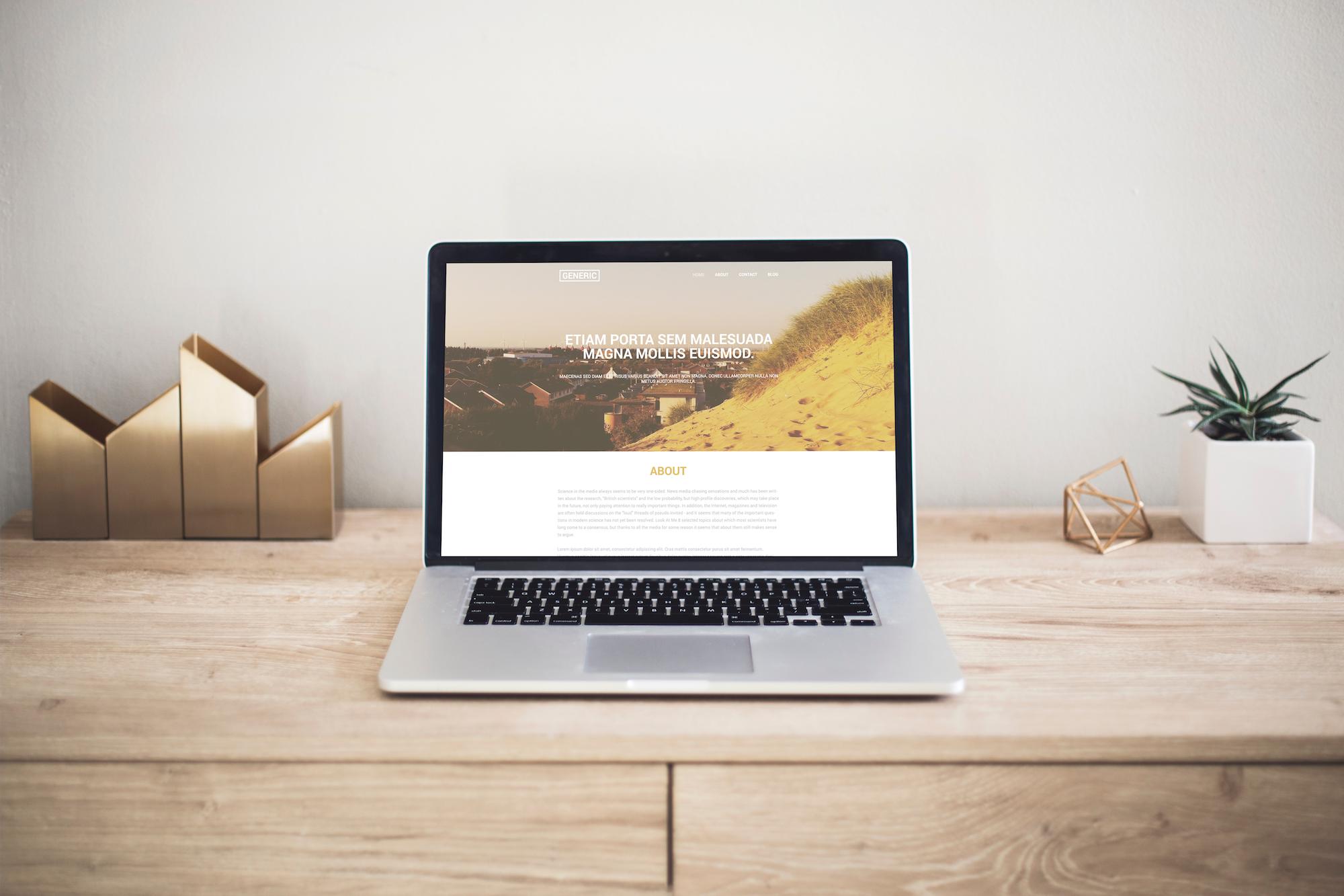 Generic website template on macbook